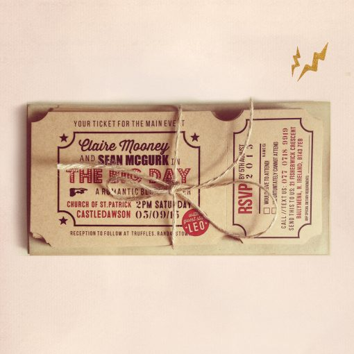 vintage ticket wedding invitations